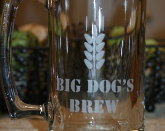 Large 27 ounce Personalized Beer Mug. Homebrew, Beer Glass, Custom Beer Mug