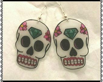 Handmade day of the dead skull earrings