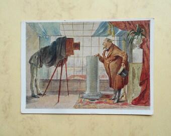 "P. Shmelkov ""Merchant before the Camera"" Postcard - 1958, Izogiz"