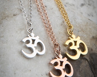 Silver Om Necklace, Om Symbol, Yoga Necklace, Gold Om