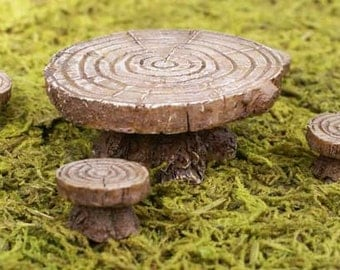 Fairy Garden Furniture | Miniature Garden Table| Fairy Garden Accessories | Fairy Table and Stools