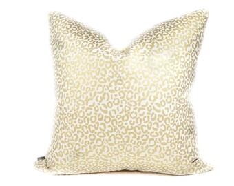 Leopard pillow cover, Gold and Cream Pillow - Gold Metallic pillow - Animal print pillow - Cheetah pillow - Metallic pillow