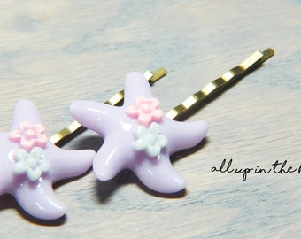 Starfish Bobby Pins - Bobby Pins - Hair Pins - Starfish Hair Pins - Purple Starfish Bobby Pins - Ocean Bobby Pins