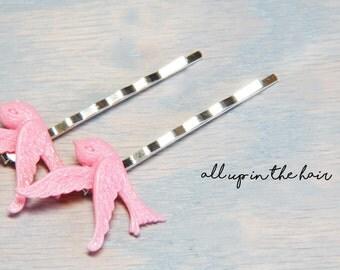 Bird Bobby Pins - Pink Bird Bobby Pins - Bobby Pins - Hair Pins