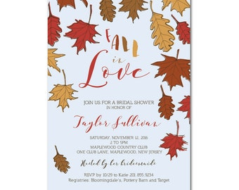 Bridal Shower 5x7 Invitation with hand-drawn leaves - Fall in Love - Printable and Personalized