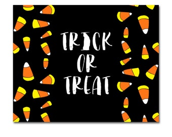 INSTANT DOWNLOAD - Printable Halloween Trick or Treat Sign - 8x10 - Hand-drawn candy corn - Tricks, Treats and Spooky Sweets