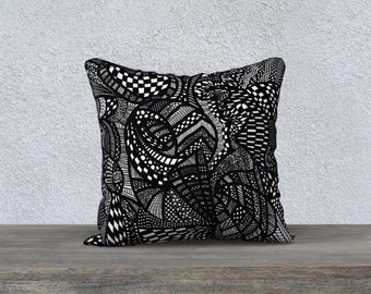 Black and white cushion cover, home decor accessories, printed art throw pillow cover, birds line drawing, teen room decor