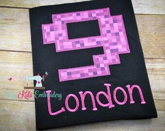 Gamer birthday shirt, boy girl shirt, gamer shirt, pixel shirt, creep shirt, birthday party, embroidery applique
