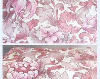 Vintage M&S 70s Floral Curtains Large Retro Pink Flower Fabric 64ins W X 72ins D