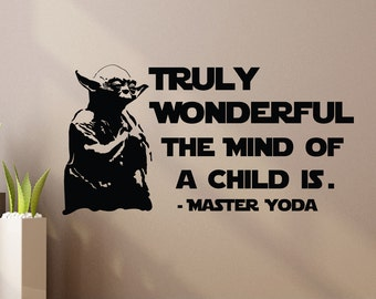Yoda Wall Decal Quote Truly Wonderful The Mind Of Child Is- Star Wars Wall Decal Vinyl Sticker Bedroom Dorm Boys Teens Room Wall Decor Z895