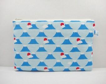 Japanese zipper pouch, Makeup bag, Large size, Fuji, Blue