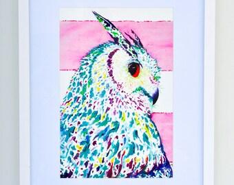 "Original Abstract Animal ""owl"" Print on fine art cotton paper - ""Night Owl""  - Modern style wall art by Aidan Weichard"