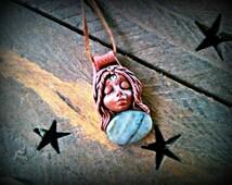 Goddess of Atlantis Labradorite healing clay crystal pendant FREE SHIPPING