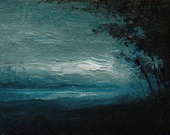 Fallen Night. 5X7 Original tonalist landscape oil painting.