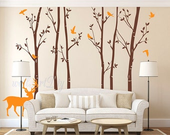 Tree Wall Decals Tree And Birds Wall Sticker Vinyl Tree Wall Mural Forest  Wall Murals Tree