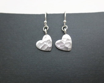 Lovely, Sterling silver, Hammered, Heart, Earrings, Heart, Love, Earrings, Lovers, Friends, Sister, Mom, Gift, Jewelry