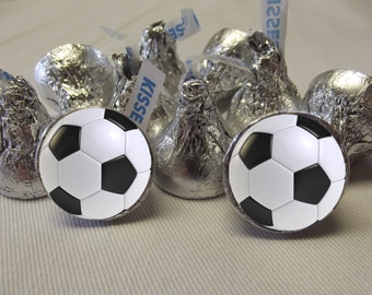 Soccer Hershey Kiss Stickers, Soccer Stickers , Soccer Hershey Kiss Labels, 3/4 inch Soccer Stickers
