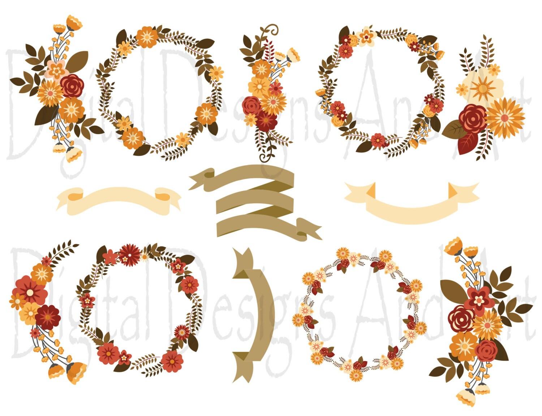Autumn floral clipart Fall flower clipart Autumn digital