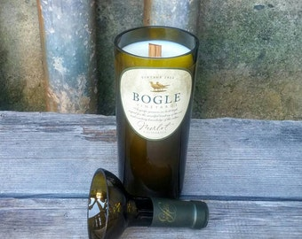 Repurposed Bogle Merlot Wine Bottle Candle, Great New Home, Housewarming or Hostess Gift!