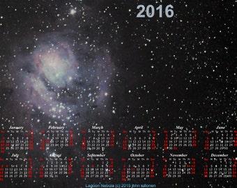 "2016 Lagoon Nebula Calendar Original Astrophotography 13""x19"" Calendar 2016"