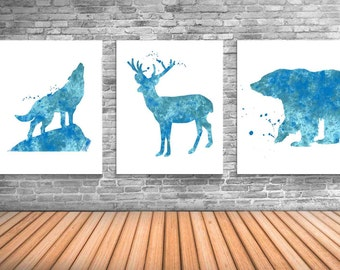 Woodland Animal Art Prints, Wolf Poster, Stag, Bear Art - WS7