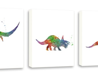 Dinosaur Art, Triceratops, Brachiosaurus, Pterodactyl, Dinosaur Decor - Set of Three Gallery Wrapped Canvases DIN6C
