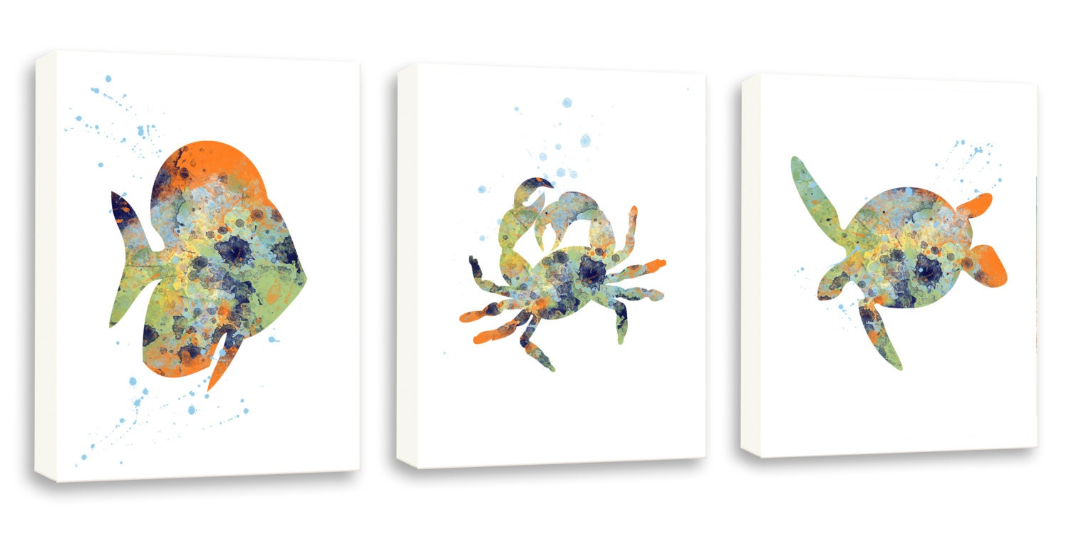 Bathroom wall art sea - Crab Wall Art Sea Life Decor Bathroom Wall Art Set Of Three Limited Edition Gallery Wrapped Canvases Ns1201c