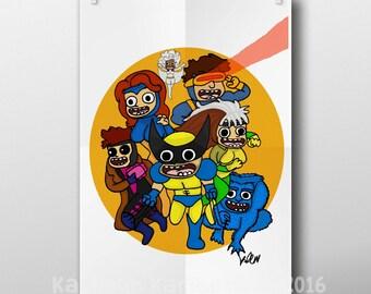 Xmen, illustration, A4 art print, comic book art, Wolverine, jean grey, storm, beast, superheroes, geek art, superhero print, art print, com