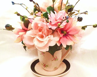 FREE SHIPPING! Sweet Elegance ~ Silk Floral Arrangement of Pink Flowers in Luxurious Collectable Cup w/ Saucer Centerpiece Large Unique Gift