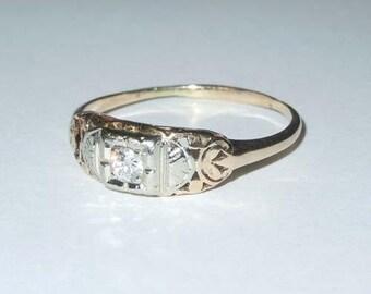 Vintage Art Deco 18Kt White 14kt Yellow Gold European Cut Diamond Engagement Ring 1930s