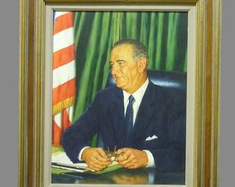 Lyndon B Johnson Oil on Canvasboard Portrait LBJ 36th President of the United States