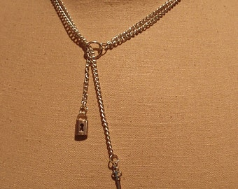 A CollarsCuffs Original Design Ring of O Shiny Silver Double Chain Y Lariat submissive Day Collar Necklace with Silver Lock and Key Charms