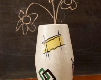Mid Century Modern West German Pottery WGP flower / weed Vase, Eames Era at its best. German art pottery.