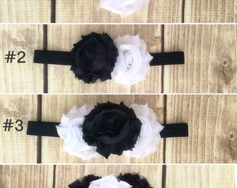 Baby girl headband, shabby chic headband, toddler headband, flower headband, black headband, white headband, gift for girls