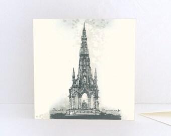 Scott Monument, Victorian gothic in Edinburgh, Scotland - Greeting Card