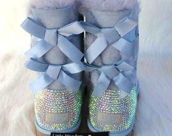 Swarovski Embeslished Rhinestone Women Lilac Bailey Ugg Boots