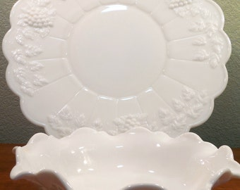 Vintage Milk Glass Grape Motif in Relief Bowl and Platter