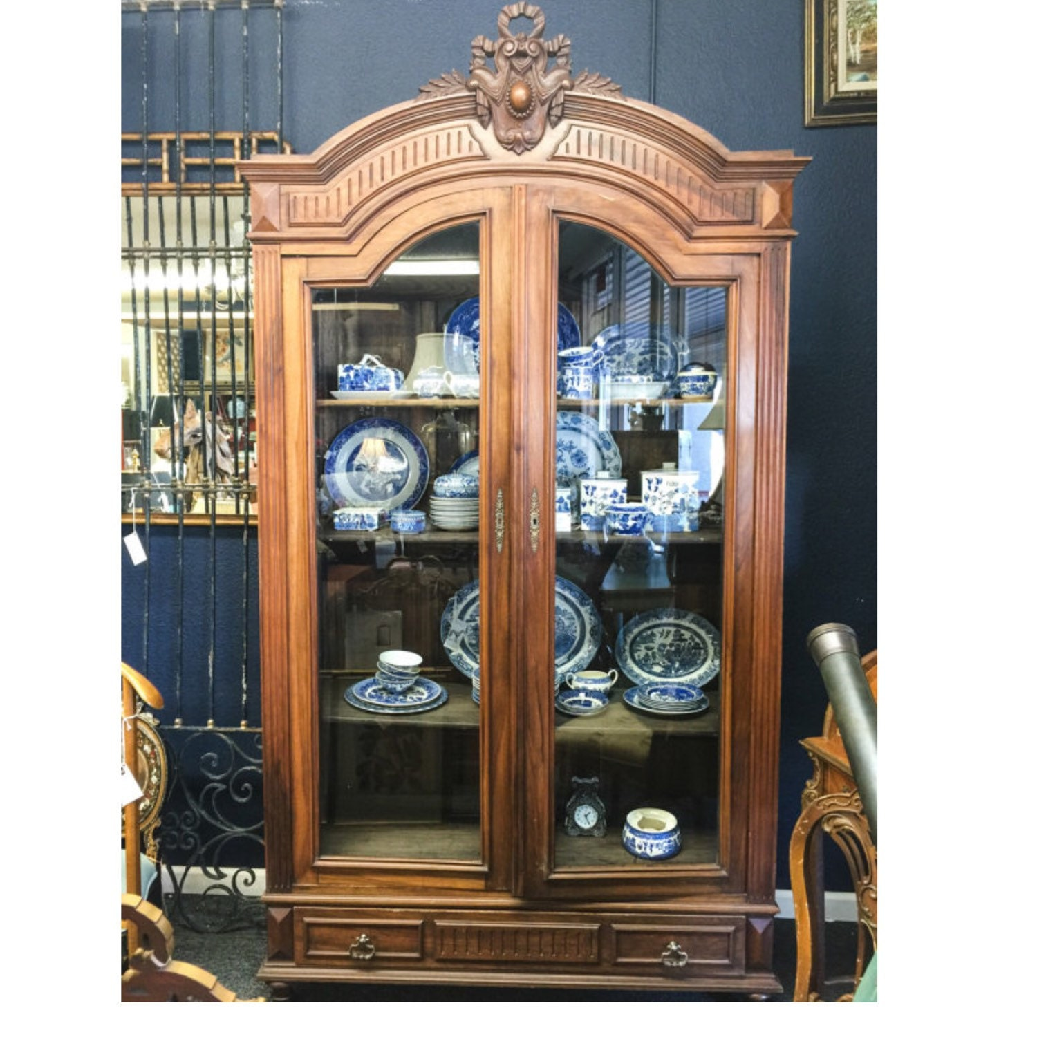 Antique Glass Door Armoire