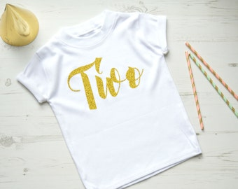 Gold Glitter Second Birthday Outfit Girl | 2nd Birthday Shirt | Toddler Girls Clothes | White SS Two