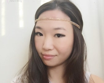 On Sale NEW womans fashion trendy white leaf flower silver thin skinny stretch boho headband