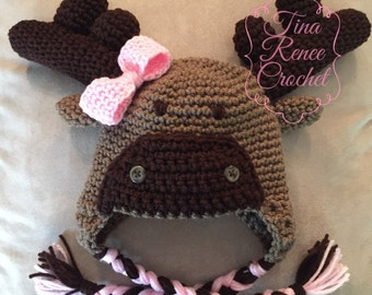 Crochet Baby Girl Moose Hat