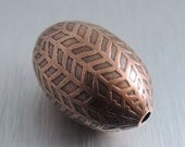 Oval Etched Copper Bead - Herringbone Design - 30mm by 20mm
