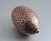 Oval Etched Copper Bead - Curlicue Design - 30mm by 20mm