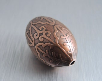 Oval Etched Copper Bead - Scalloped Flower Design - 30mm by 20mm