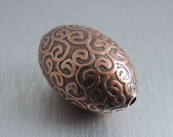 Oval Etched Copper Bead - Arabesque Design - 30mm by 20mm