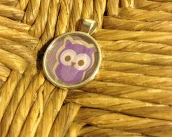 Purple owl pendant