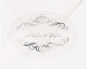 Personalized Elegant Silver Swirls Wedding Invitation Envelope Seals Stickers (Pack of 100)