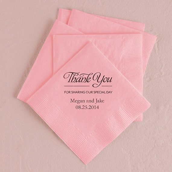 Thank you personalized wedding napkins pack of 100 for Printed wedding napkins