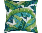 Tropical Outdoor Pillow Cover, 21x21 Green outdoor cushion, Banana Leaf Pillow, Green Turquoise Pillow with Hidden Zipper, Palm Tree Decor