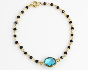 Delicate Blue Quartz Gemstone Bracelet with Black Spinel and Vermeil Chain